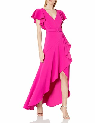 Badgley Mischka Women's V Neck Ruffle Gown