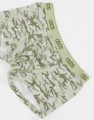 ASOS DESIGN short trunk in camouflage print with tonal branded waistband