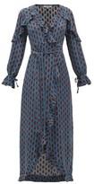 D'Ascoli Mileta Ruffle-trimmed Printed-silk Wrap Dress - Womens - Blue