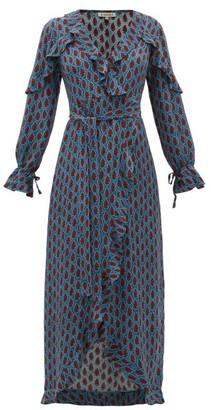 D'Ascoli Mileta Ruffle-trimmed Printed-silk Wrap Dress - Blue