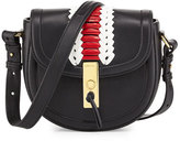 Altuzarra Ghianda Woven Leather Saddle Mini Bag, Black