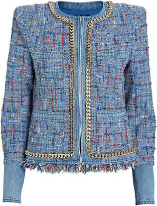 Balmain Denim-Trimmed Tweed Jacket