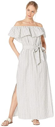 1 STATE 1.STATE Off the Shoulder Striped Cotton Jacquard Maxi Dress (Ultra White) Women's Dress