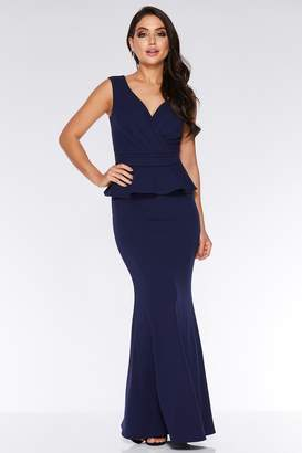 Quiz Navy Bardot Wrap Peplum Maxi Dress