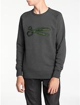 Denham Jeans Boro Scissor Sweatshirt, Ash Grey Marl