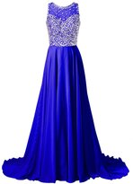 Callmelady Chiffon Long Prom Dresses 2017 with High Neck & Beaded Mesh Bodice (, US)