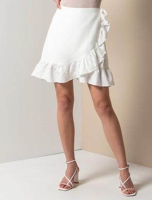Forever New Nala Wrap Linen Mini Skirt - Porcelain - 4