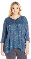 Lucky Brand Women's Plus Size Roadmap Print Blouse