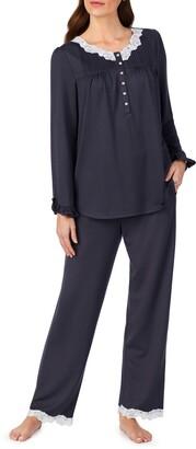 Eileen West Lace Trim Long Pajamas