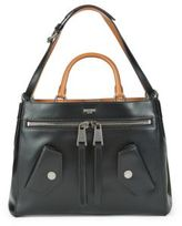 Moschino Top Lock Leather Satchel