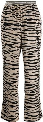 LOVE Stories Zebra-Print Satin-Crepe Pyjama Trousers