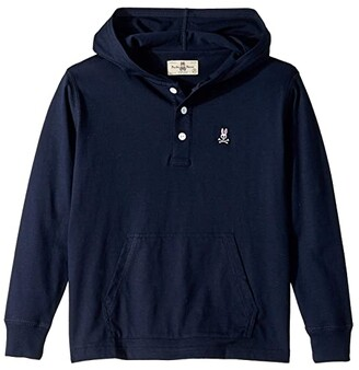 Psycho Bunny Kids Long Sleeve Button Packet Hoodie (Toddler/Little Kids/Big Kids) (Navy) Boy's Clothing