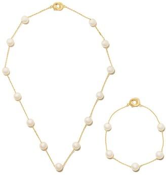 TASAKI 18kt yellow gold Akoya pearl necklace and bracelet set