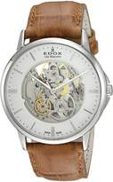 Edox Men's 'Les Bemonts' Swiss Automatic Stainless Steel and Leather Dress Watch, Color: (Model: 85300 3 AIN)