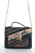 Sam Edelman Black Brown Leather Gold Chain Strap Shoulder Handbag