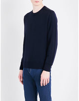 Canali Suede patch-detail wool jumper