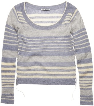 Acne Studios Stiped Crew Neck Knit Top, Dusty Blue