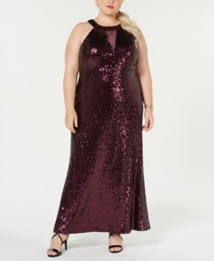 Morgan & Company Trendy Plus Size Sequined Halter Gown