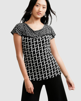 SACHA DRAKE - Women's Black Tops - Reversible Cowl Neck Border Top - Size One Size, 8 at The Iconic