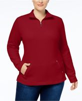 Karen Scott Plus Size Half-Zip Sweatshirt, Created for Macy's