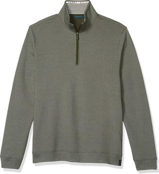Perry Ellis Men's The Icon Quarter-Zip Long Sleeve Mock Neck Logo Shirt