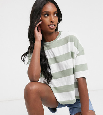Asos Tall ASOS DESIGN Tall boxy cropped t-shirt with chunky stripe in mint