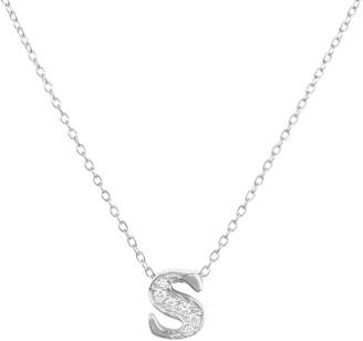 Latelita Diamond Initial Letter Pendant Necklace Silver S