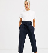 Asos DESIGN Petite tailored tie waist tapered ankle grazer trousers
