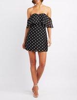 Charlotte Russe Polka Dot Off-The-Shoulder Skater Dress