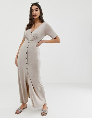 Asos Design DESIGN button through wrap front maxi dress-Beige
