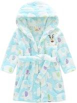 Happy Cherry Children's Robe Kids Cartoon Flannel Bathrobe Elephant Sleepwear Size 90