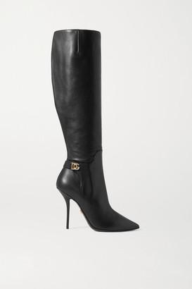 Dolce & Gabbana Logo-embellished Leather Knee Boots - Black