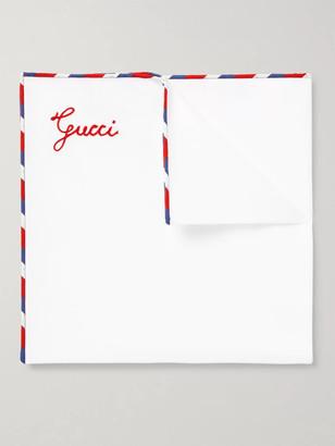 Gucci Stripe-Trimmed Cotton Pocket Square