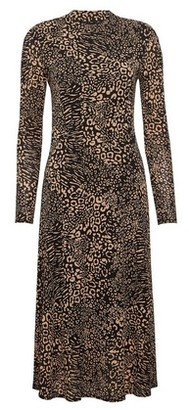 Dorothy Perkins Womens Camel Printed Mesh Midi Dress