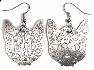 Lasercut Earring Cat for Woman Hand Made Accessory Stainless Steel comes with Present gift box