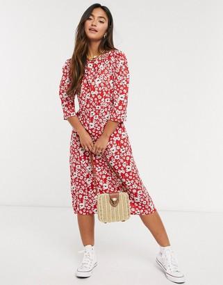 Qed London midi dress in red floral print