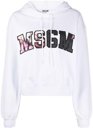 MSGM Floral Logo Print Hoodie