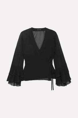 Etro Ruffled Silk-chiffon Wrap Top - Black