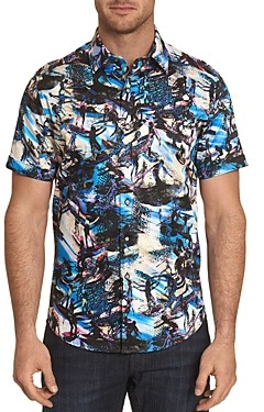 Robert Graham Point Break Surf Print Short-Sleeve Classic Fit Button-Down Shirt