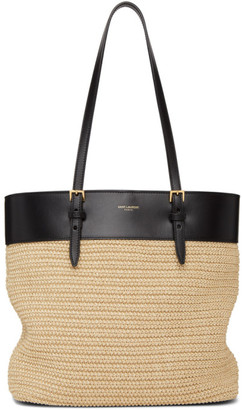 Saint Laurent Beige and Black Raffia Mini East/West Tote