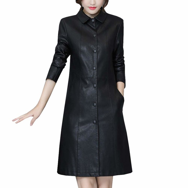 Faux Leather Trench Coat P8103 5xl, Womens Faux Leather Trench Coat Uk