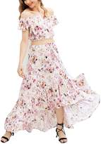 Berrygo Women's Boho Crop Top Mermaid Long Skirt 2 Pieces Floral Print Maxi Dress