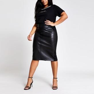 River Island Womens Plus Black faux leather pencil midi skirt