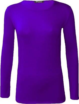 ZEE FASHION New Ladies Plain Stretch Fit Long Sleeve Womens T-Shirt Round Neck Basic Top Plus Size UK 8-26 Black