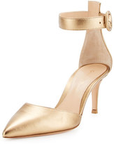 Gianvito Rossi Metallic Ankle-Strap d'Orsay Pump, Glam