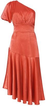 True Decadence Baked Rose Satin One Shoulder Midi Dress