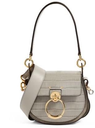 Chloé Small Croc-Embossed Leather Tess Saddle Bag