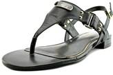 Lauren Ralph Lauren Valinda Women Open Toe Leather Black Thong Sandal.