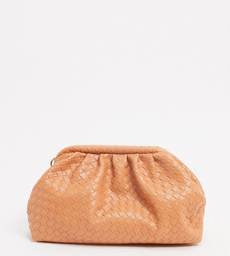 Glamorous Exclusive slouchy pillow clutch bag in orange woven