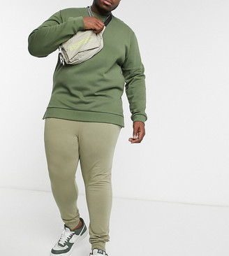 ASOS DESIGN Plus lightweight super skinny joggers in light khaki